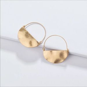 Anthropologie Rylan  crescent hoop earrings gold